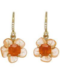 Irene Neuwirth - One-of-a-kind Carved Mandarin Garnet And Fire Opal Flower Earrings - Lyst
