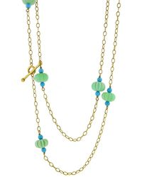 Cathy Waterman Chrysoprase And Turquoise Flower Necklace In 22k Yellow Gold - Metallic