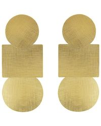 Annie Costello Brown Weave Popova Earrings - Metallic