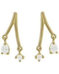 Tate - Teardrop And Round Diamond Stick Stud Earrings - Lyst