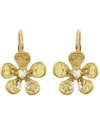 Cathy Waterman - Hammered Diamond Violet Earrings - Lyst