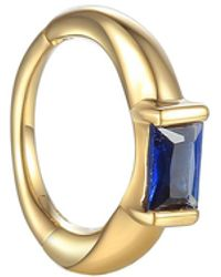 Pamela Love 8mm Floating Baguette Blue Sapphire Huggie Hoop Single Earring