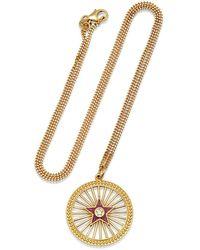 Andrea Fohrman Amethyst Enamel Starburst Pendant Yellow Gold Necklace - Metallic