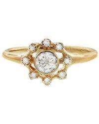 N+A New York - Round Diamond Frame Ring - Lyst