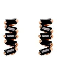 Suzanne Kalan Black Sapphire Baguette Rose Gold Stud Earrings