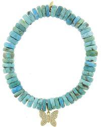 Sydney Evan - Butterfly Charm On Arizona Turquoise Wheel Beaded Bracelet - Lyst