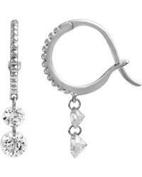 Raphaele Canot Set Free Mini Hoop Earrings Double Diamond - Metallic