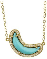 Andrea Fohrman - Turquoise And White Diamond Crescent Moon Necklace - Lyst