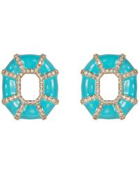 Nevernot Sip A Cocktail Diamond Earring - Blue