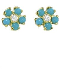 Jennifer Meyer - Turquoise And Diamond Flower Stud Earrings - Lyst