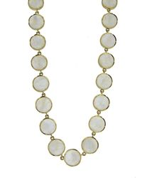 Irene Neuwirth 11mm Rainbow Moonstone Cabochon Yellow Gold Medium Classic Link Necklace - Metallic