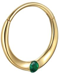 Pamela Love 11mm Floating Emerald Single Huggie Hoop Earring - Metallic
