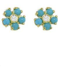 Jennifer Meyer - Turquoise And Diamond Flower Stud Earrings - Lyst