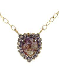 Cathy Waterman Rustic Diamond Shield Necklace - Brown