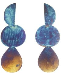 Annie Costello Brown Iridescent Blue Mattea Earrings