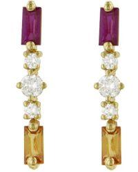 Suzanne Kalan - Orange And Pink Sapphire Round Diamond Stud Earrings - Lyst