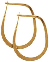 Melissa Joy Manning Extra Small Yellow Gold Tear Drop Hoop Earrings - Metallic