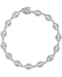 Sydney Evan Large Diamond Bezel Evil Eye Bracelet - Metallic