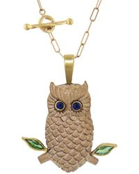 Cathy Waterman Diopside And Blue Sapphire Wood Owl Charm - Brown