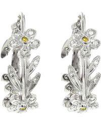 Cathy Waterman - Flower And Vine Hoop Earrings - Lyst