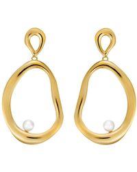 Ileana Makri - Large Flow Dangling Pearl Hoop Earrings - Lyst