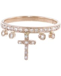 Jacquie Aiche - Diamond Cross Stacking Ring - Lyst