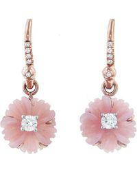 Irene Neuwirth - 10mm Carved Pink Opal Diamond Flower Earrings - Lyst