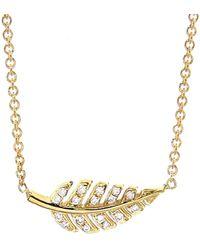 Jennifer Meyer Mini Diamond Leaf Necklace - Metallic