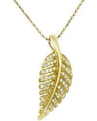 Jennifer Meyer - Diamond Leaf Necklace - Lyst