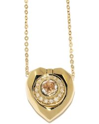 Jordan Askill - Pavé Diamond Heart Locket Necklace - Lyst