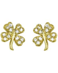 Jennifer Meyer - Mini Diamond Four-leaf Clover Stud Earrings - Lyst