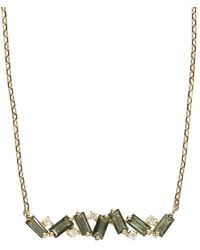 KALAN by Suzanne Kalan Green Envy Topaz Baguette And Diamond Bar Necklace - Multicolor