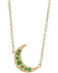 Andrea Fohrman - Emerald Crescent Moon Necklace - Lyst