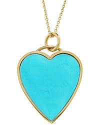 Jennifer Meyer - Turquoise Inlay Heart Pendant Necklace - Lyst