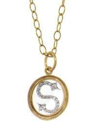 Cathy Waterman Double Milgrain Diamond Initial 22k Gold And Platinum Charm, A - Metallic