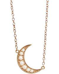 Andrea Fohrman Mini Pearl Crescent Moon Rose Gold Necklace - Metallic