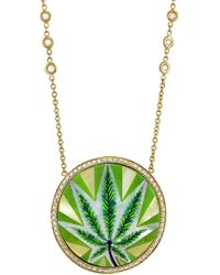 Jacquie Aiche - Sweet Leaf Inlay Necklace - Lyst