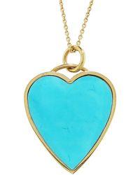 Jennifer Meyer Turquoise Inlay Heart Pendant Necklace - Blue
