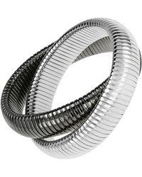 Janis Savitt - High Polished Gunmetal And Rhodium Double Cobra Bracelet - Lyst