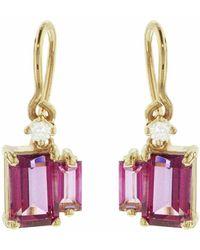 KALAN by Suzanne Kalan Double Baguette Emerald Cut Pink Topaz Earrings