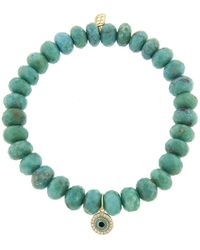 Sydney Evan - Enamel And Pave Evil Eye Charm On Turquoise Beaded Bracelet - Lyst
