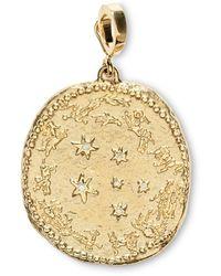 Azlee Diamond Large Zodiac Wheel Coin Yellow Gold Charm - Metallic