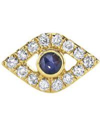 Sydney Evan - Sapphire Bezel Evil Eye Single Stud Earring - Lyst