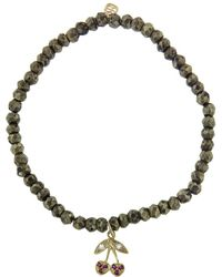 Sydney Evan - Cherry On Pyrite Beaded Bracelet - Lyst