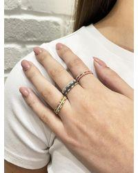 Ileana Makri Green And White Diamond Thread Stripes Band Ring