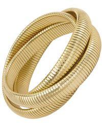 Janis Savitt - High Polished Gold Large Triple Cobra Bracelet - Lyst