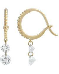 Raphaele Canot Set Free Double Diamond Beaded Mini Hoop Earrings - Metallic