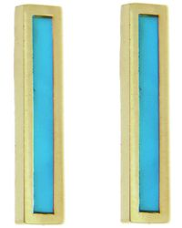 Jennifer Meyer - Turquoise Inlay Long Bar Stud Earrings - Lyst
