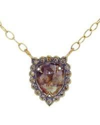 Cathy Waterman - Rustic Diamond Shield Necklace - Lyst
