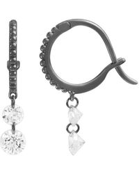 Raphaele Canot Set Free Double Diamond Beaded Mini Hoop Earrings - Black